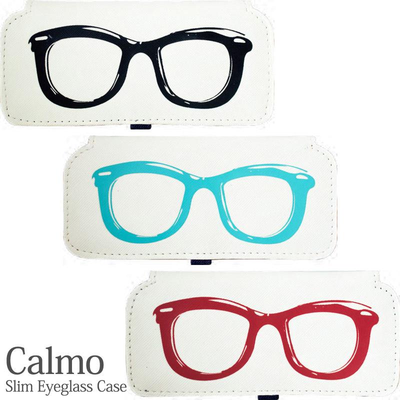 カルモ スリムメガネケース メガネ柄 レディース メガネケース おしゃれ かわいい スリム 眼鏡ケース 薄型 コンパクト 携帯用