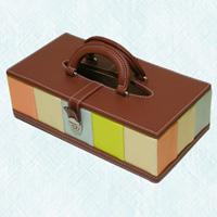 ティッシュケース イエロー ストライプ ティッシュケース 合成皮革製 ティッシュカバー ティッシュボックス ロジエ Rosier