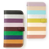 i Phoneカバー 革製 縞 虹 iphone5 iphone5S 携帯 ケース 革 ケータイケース ロジエ Rosier ロジエ Rosier