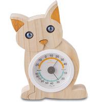 ネコさん 温湿計 ユニークギフト 日本製 温湿計 温度計 インテリア雑貨 猫 ねこ cat キャット ロジエ Rosier