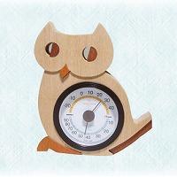 温湿計 フクロウさん 木製 ユニークギフト 温湿計 温度計 インテリア雑貨 ロジエ Rosier ロジエ Rosier