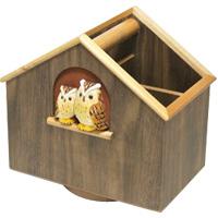 回転リモコンスタンド もく福ろう 木製 ふくろう スタンド リモコンスタンド 手作り 手彫り ラック ロジエ Rosier ロジエ Rosier