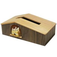 ティッシュボックス もく福ろう 木製 ハンドメイド 手作り 手彫り ふくろう ロジエ Rosier ロジエ Rosier