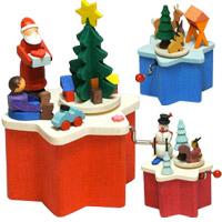 グラウプナー 手巻きオルゴール クリスマス オーナメント 飾り 北欧 小物 プレゼント クリスマスソング 手回し オルゴール
