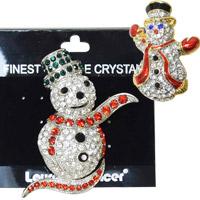 ブローチ スノーマン クリスマス オーナメント 飾り 北欧 雪だるま 小物 プレゼント ラインストーン