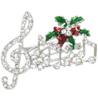 音符 XM-111 ブローチ クリスマス オーナメント 飾り 北欧 小物 プレゼント ラインストーン