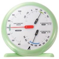 温湿度・不快指数計 R-1 丸型 15cmリーフグリーン 70480 温度計 湿度計 健康管理 省エネ ベビー用品 シンワ測定