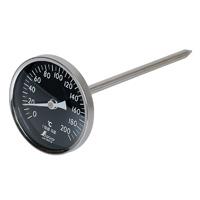 温度計 V-4 丸T字型 0〜200℃ Φ8×20cm白目盛 73012 温度測定 ステン ステンレス製 シンワ測定