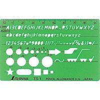テンプレート TS-A 一般総合定規 カードタイプ 3枚組 66034 製図 設計 図面 シンワ測定