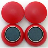 強力カラーマグネット ヨーク付 Φ30 赤 4ヶ入 72062 マグネット 磁石 黒板 掲示 シンワ測定