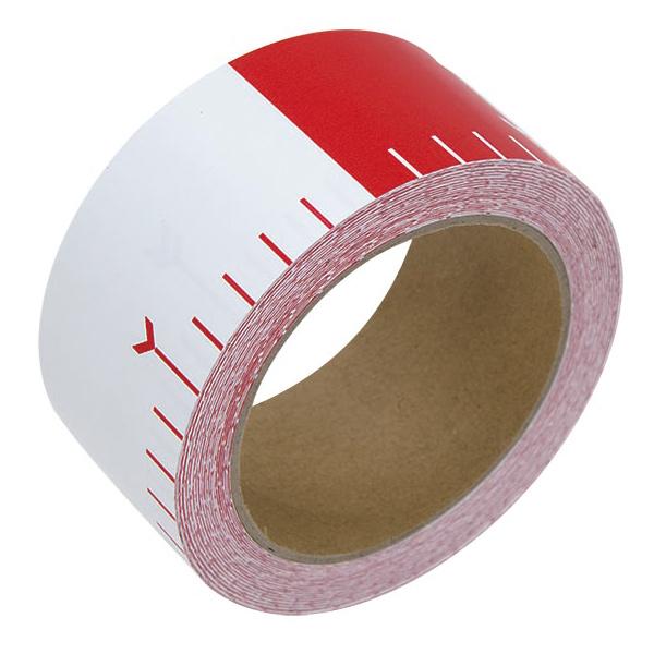 貼付ロッド 合成紙製 50mm×25m 赤白20cm間隔 シンワ測定 建築 DIY 工具 大工 メモリテープ オリジナル ロッド