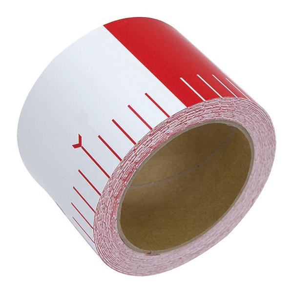 貼付ロッド 合成紙製 75mm×25m 赤白20cm間隔 シンワ測定 建築 DIY 工具 大工 メモリテープ オリジナル ロッド メジャー