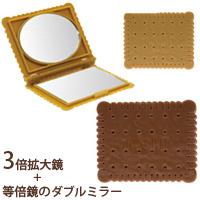 鏡 折りたたみ ビスケットダブルミラー YCK-500 【ミラー 拡大鏡 [拡大ミラー] コンパクトミラー 手鏡 3倍 両面[鏡] 角型】 ヤマムラ