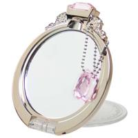 ダイヤモンドリング ミラー PINKGOLD YRG-800 コンパクトミラー 手鏡 ミラー メイクアップ ハンドミラー 鏡 ストラップ