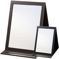プロスタイル フェイクレザー 卓上 ミラー FL-3000 鏡 ミラー メイクアップ メイク スタンドミラー ハンドミラー 卓上ミラー 美容院