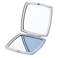 鏡 折りたたみ アルミ 両面 コンパクトミラー [鏡] シルバー