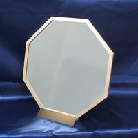 八角アルミミラー [鏡] [S] 台付き ゴールド [風水鏡] 開運!八角形の鏡は勝負に勝つパワーを持つすぐれもの!