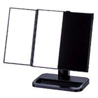 卓上 三面鏡 ヤマムラ 卓上ミラー スタンドミラー [鏡] ブラック 台付き 扉式