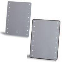 ブライトニングミラー タッチ YLD-2500 鏡 卓上 ミラー スタンドミラー LEDライト 電池 メイク 角型