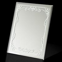 スタンドミラー 高級感 ヤマムラ 卓上ミラー [鏡] L 滑り止め付き 清楚 白いビクトリアン柄