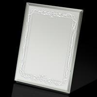 スタンドミラー 高級感 ヤマムラ 卓上ミラー [鏡] S 滑り止め付き 清楚 白いビクトリアン柄