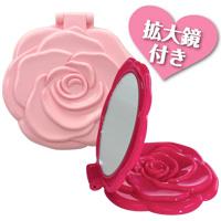 ダブルコンパクトミラー [乙女] 拡大鏡 2倍 メイク [薔薇] ロマンチックローズ 折りたたみ