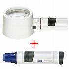 虫眼鏡 置き型 ライトルーペ [system vario plus] ヘッド+LEDライト付グリップのセット 3倍 80mm 155994