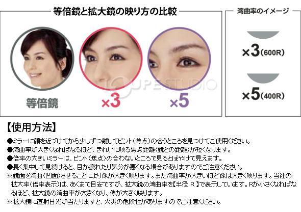 等倍鏡と拡大鏡の映り方の比較