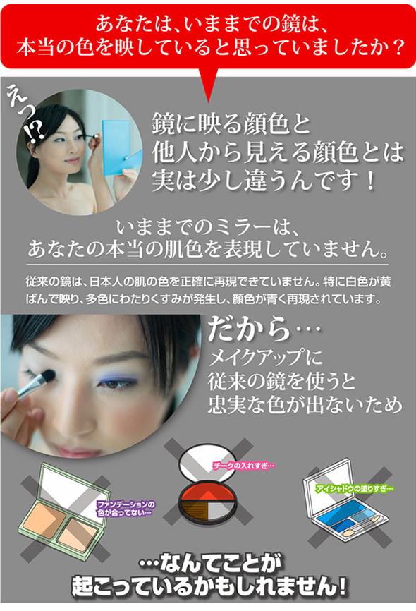 従来の鏡は、日本人の肌の色を正確に再現できていません。特に白が黄ばんで映り、多色にわたりくすみが発生し、顔色が青く再現されています。