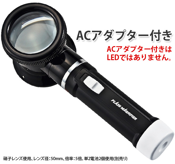 ライト付フラッシュルーペ50mm5倍全体画像