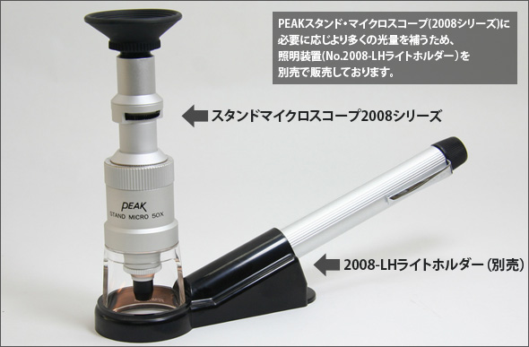 ピーク・スタンド・マイクロスコープ(PEAK2008シリーズ)に必要に応じより多くの光量を補うため、照明装置(No.2008-LH ライトホルダー)を別売で販売しております。