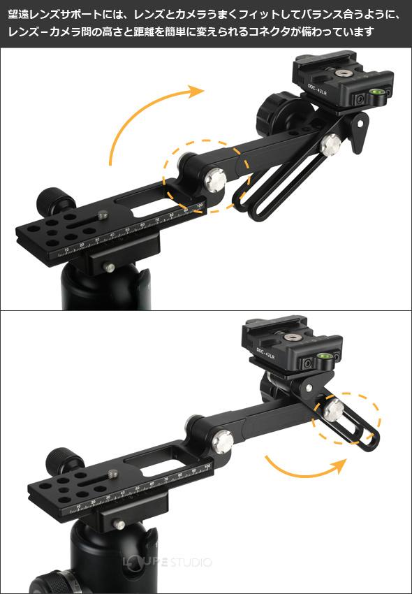 望遠レンズサポートには、レンズとカメラうまくフィットして