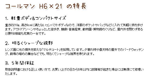 コールマン H6×21 の特長