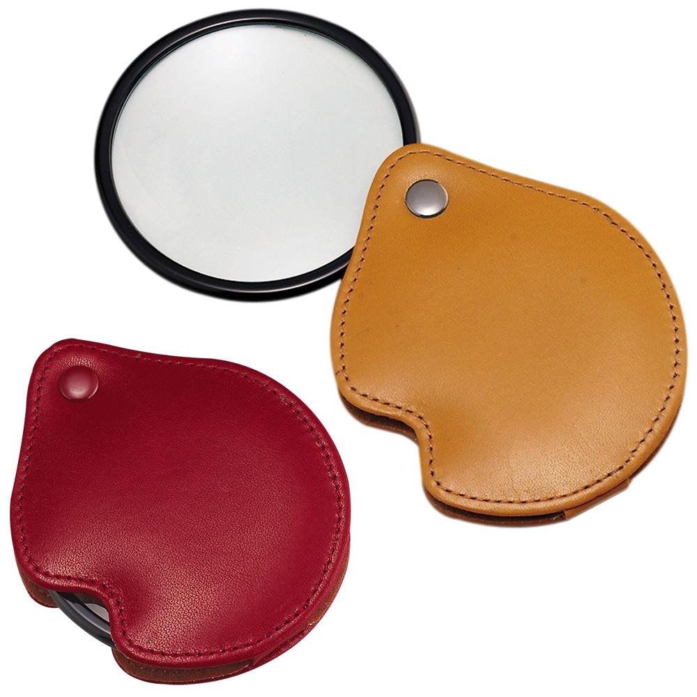 虫眼鏡 ポケットルーペ 3125 3倍 65mm 携帯用本革製 池田レンズ