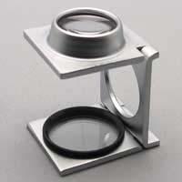 虫眼鏡 リネンテスター ガラススケール付き 折りたたみ式 ルーペ 8倍 [0.1mm間隔スケール付き ]
