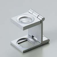 虫眼鏡 リネンテスター 7521 9倍 15mm シルバー ミリ&インチメモリ 測量 検査用 ルーペ 日本製 池田レンズ