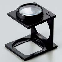 虫眼鏡 リネンテスター 7552 6倍 27mm ダブルレンズ ブラック ミリ&インチメモリ 測量,検査用ルーペ 日本製 池田レンズ