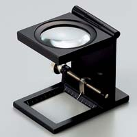 虫眼鏡 リネンテスター 6倍 ブラック 針付き 測量,検査用ルーペ