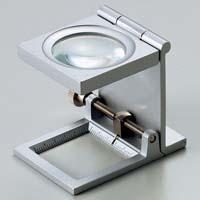 虫眼鏡 リネンテスター 6倍 シルバー 針付き 測量,検査用ルーペ 日本製 池田レンズ