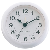 丸型時計 アラーム付 ホワイト 時計