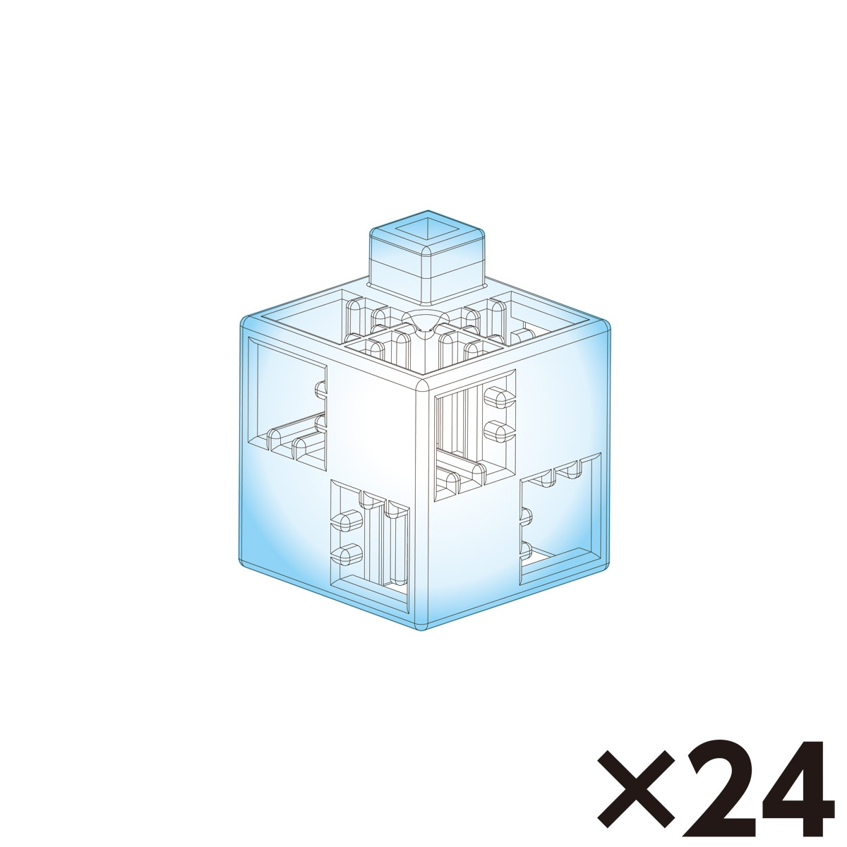 アーテックブロック部品 基本四角単品 クリア 24pcs 日本製 ゲーム 玩具 レゴ・レゴブロックのように遊べます クリスマスプレゼント