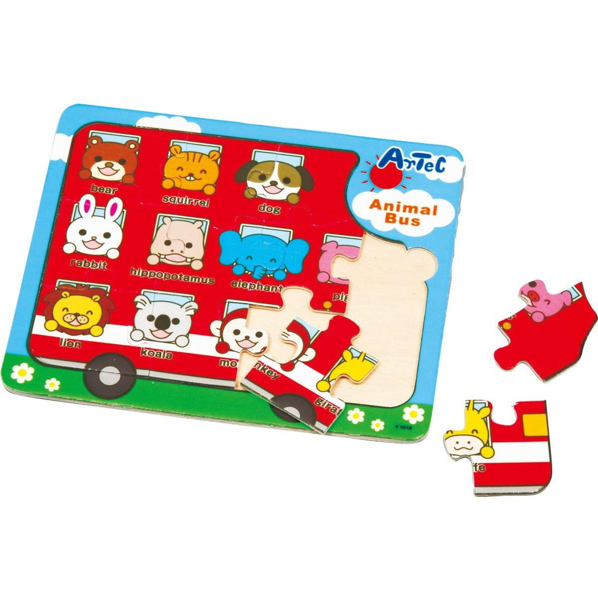 木製パズル アニマルバス ベビー キッズ 子供 知育玩具 パズル おもちゃ