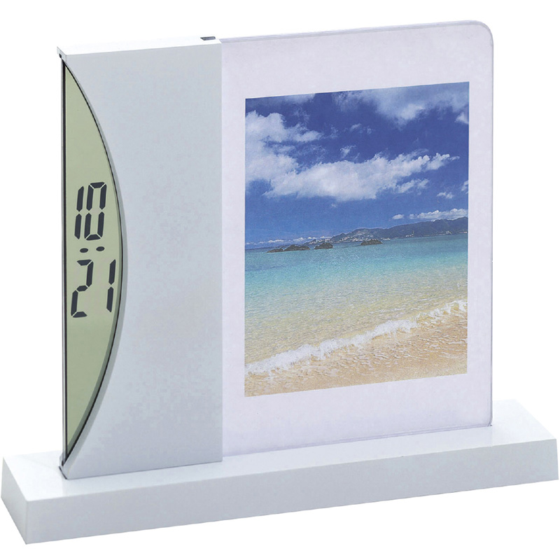 フォトスタンド & デジタルクロック フォトフレーム 時計 おしゃれ 写真立て プレゼント