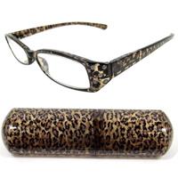 老眼鏡 石入りヒョウ柄 シニアグラス ブラウン 専用ケース付 老眼鏡 リーディンググラスカートン光学