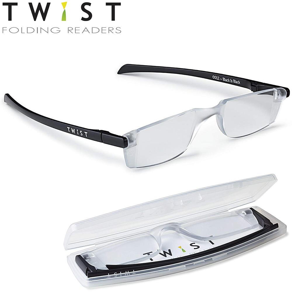 シニアグラス TWIST ブラック 折りたたみ式 カートン 老眼鏡 おしゃれ メンズ レディース シニアグラス 携帯用 母の日 父の日 敬老