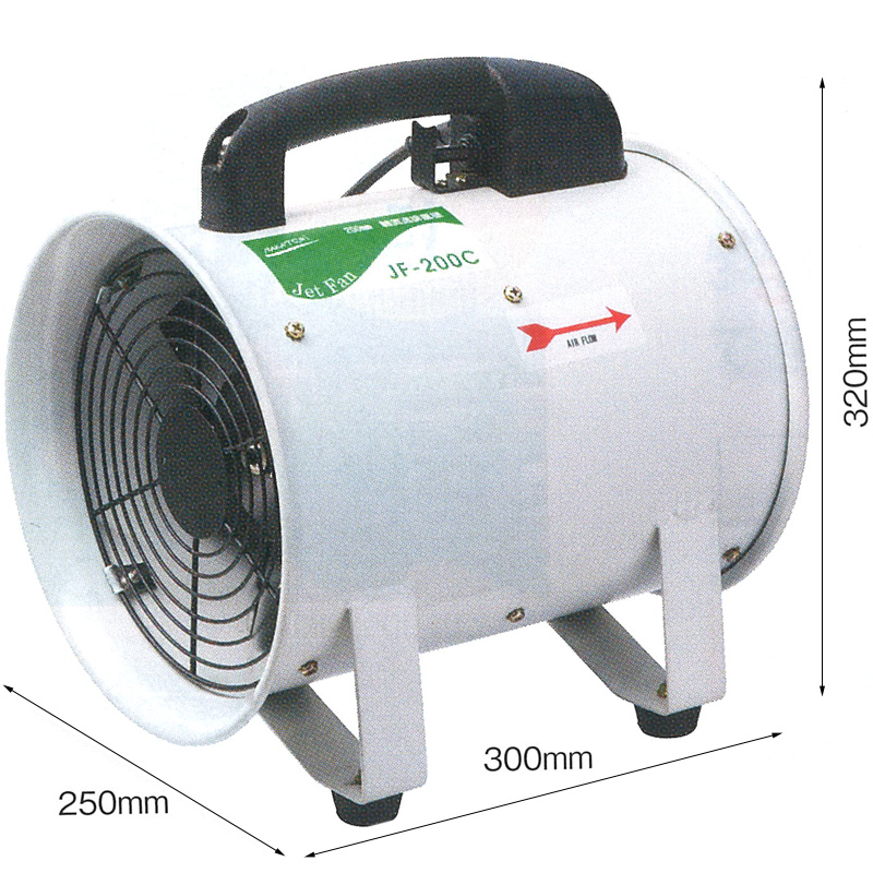 200mm軸流送風機 JF-200C [全閉式] 000639 NAKATOMI ナカトミ 循環 送風 排風 機械冷却 送風機 工場扇 業務用 工場用