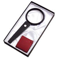 虫眼鏡 拡大鏡ギフトセット G-45 LEDライト付 ハンドルーペ 2.5倍 ポケットルーペ 3.5倍 池田レンズ