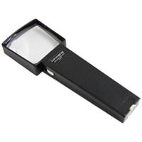 虫眼鏡 角型ライトルーペ 2倍&4倍 70×70mm ライト付き ルーペ 拡大鏡 手持ちルーペ 池田レンズ アウトレット