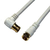 HORIC アンテナケーブル S4CFB同軸 2.0m F型差込式/ネジ式コネクタ L字/ストレートタイプ ホーリック