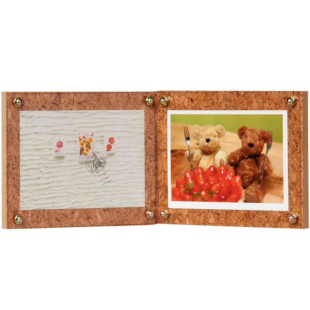 写真立て 木製フレーム コルク E ダブル(Lダブル) DNPフォトイメージング フォトフレーム 2面 2枚 おしゃれ プレゼント 結婚祝い 出産祝い 赤ちゃん かわいい